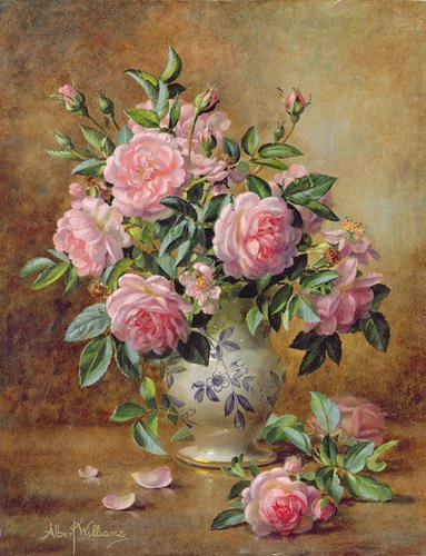 quadros-de-flores - Quadro - A Medley of Pink Roses (oil on canvas) - - Williams, Albert