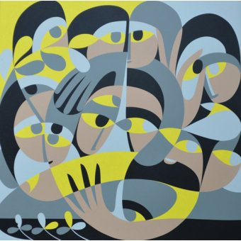 Quadros abstratos - Quadro - Presence III, 1987 (acrylic on board) - - Waddams, Ron
