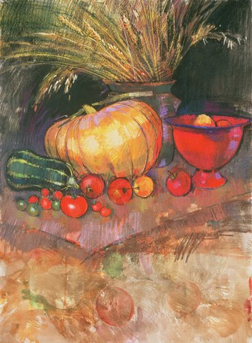 naturezas-mortas - Quadro - Harvest (pastel on paper) - - Spencer, Claire