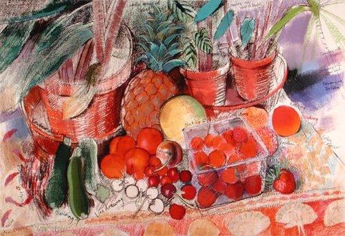 naturezas-mortas - Quadro - Summer Fruits (pastel on paper) - - Spencer, Claire