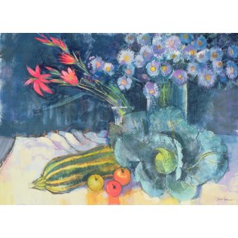 naturezas mortas - Quadro - Still Life with Fruit and Flowers (mixed media) - - Spencer, Claire
