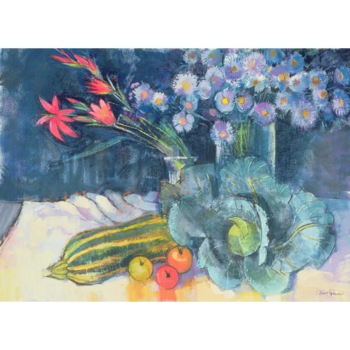 Quadro - Still Life with Fruit and Flowers (mixed media) -