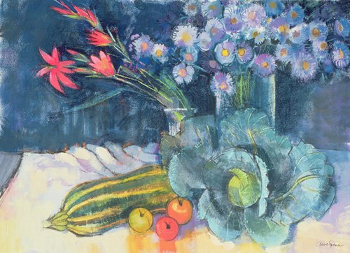 naturezas-mortas - Quadro - Still Life with Fruit and Flowers (mixed media) - - Spencer, Claire