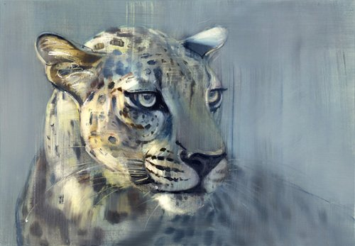 quadros-para-sala - Quadro -Predator II (Arabian Leopard), 2009 (oil on paper)- - Adlington, Mark
