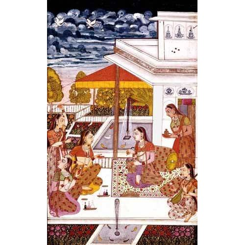 ethnic and oriental paintings - Picture -Mujeres charlando en la terraza-