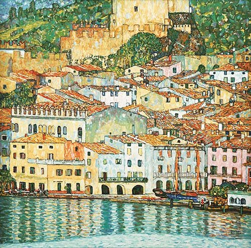 quadros-de-paisagens-marinhas - Quadro -Malcesine on Lake Garda- - Klimt, Gustav