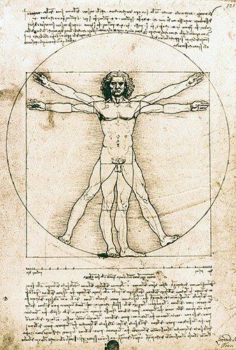 imagens-de-mapas-gravuras-e-aquarelas - Quadro -Hombre de Vitruvio- ó -Estudio anatómico- - Vinci, Leonardo da