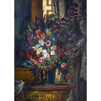 quadros de flores - Quadro -Vaso de flores no console- - Delacroix, Eugene