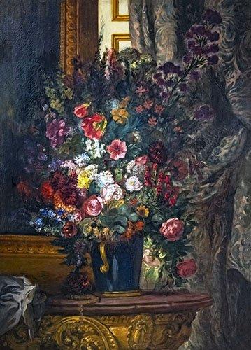 quadros-de-flores - Quadro -Vaso de flores no console- - Delacroix, Eugene