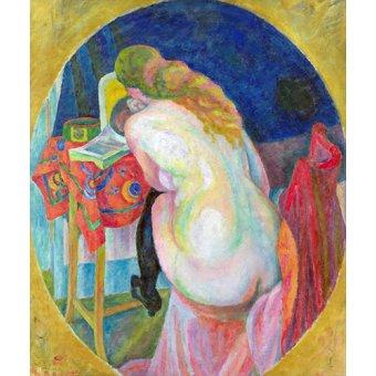- Quadro - Mulher nua lendo - - Delaunay, Robert