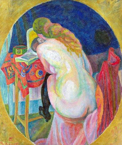 quadros-abstratos - Quadro - Mulher nua lendo - - Delaunay, Robert
