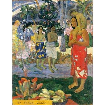 pinturas de retratos - Quadro -Ia Orana Maria- - Gauguin, Paul