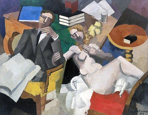 pinturas-de-retratos - Quadro -Vida de casados- - Fresnaye, Roger de la