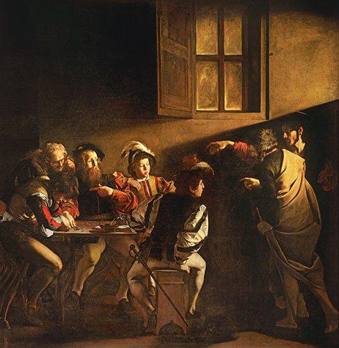 quadros-religiosos - Quadro -A Chamada de São Mateus - - Caravaggio, Michelangelo M.