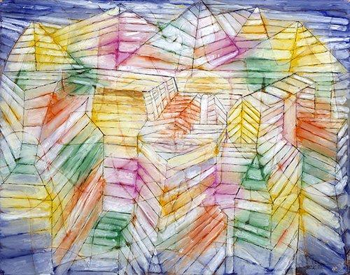 quadros-abstratos - Quadro - Teatro, Montanha, Construção - - Klee, Paul
