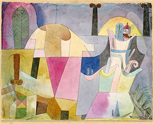 quadros-abstratos - Quadro - Colunas pretas em uma paisagem - - Klee, Paul