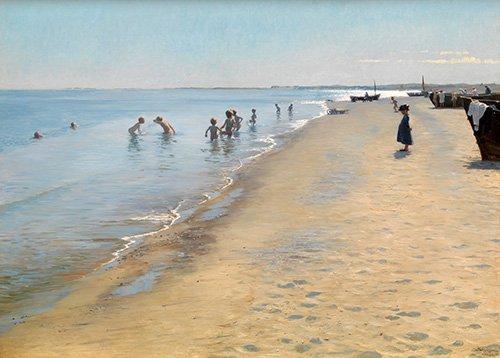 quadros-de-paisagens-marinhas - Quadro -Summer Day at the South Beach of Skagen- - Kroyer, Peder Severin