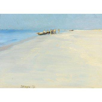 quadros de paisagens marinhas - Quadro -Fishermen on the beach at Skagen- - Kroyer, Peder Severin