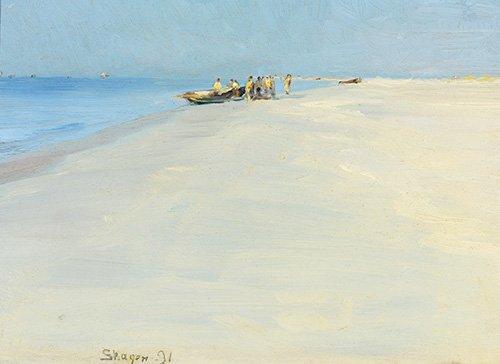 quadros-de-paisagens-marinhas - Quadro -Fishermen on the beach at Skagen- - Kroyer, Peder Severin