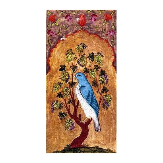ethnic and oriental paintings - Picture -Halcón azul sobre una rama-