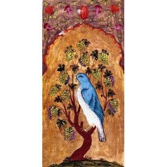 animals - Picture -Halcón azul sobre una rama- - _Anónimo Persa