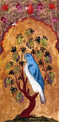 ethnic and oriental paintings - Picture -Halcón azul sobre una rama- - _Anónimo Persa