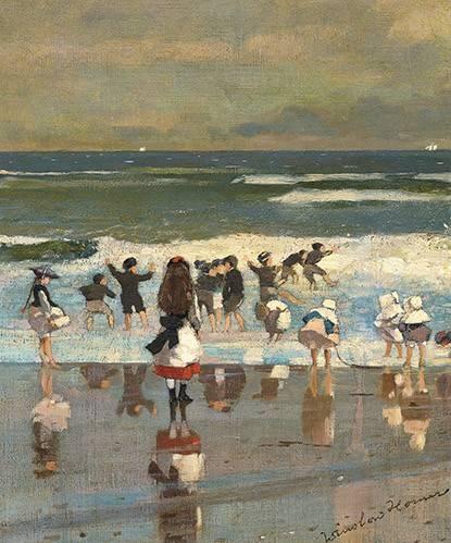 pinturas-de-retratos - Quadro -Escena en la playa- - Homer, Winslow
