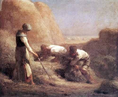 cuadros de paisajes - Cuadro -Les Batteleurs (1850)- - Millet, Jean François
