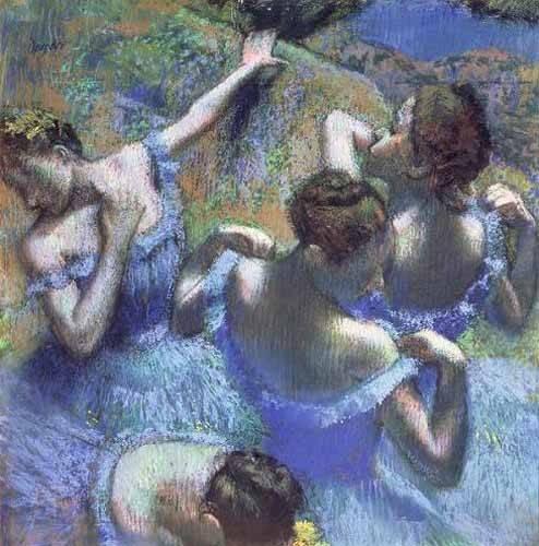 pinturas-de-retratos - Quadro -Blue Dancers- - Degas, Edgar