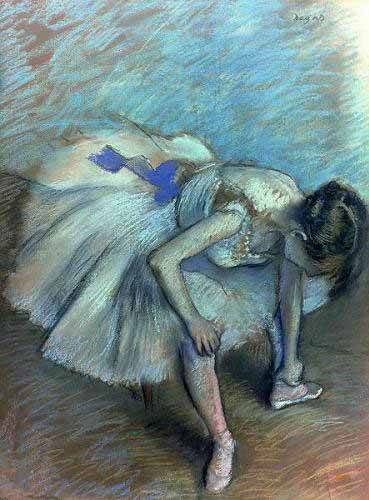 pinturas-de-retratos - Quadro -Bailarina sentada- - Degas, Edgar
