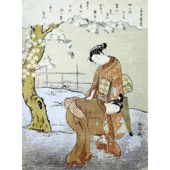quadros étnicos e orientais - Quadro -Mujer y su doncella- - Harunobu, Suzuki