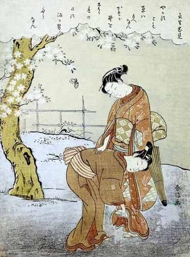 ethnic and oriental paintings - Picture -Mujer y su doncella- - Harunobu, Suzuki