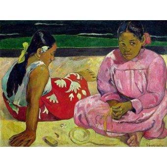 - Quadro -Mujeres de Tahití en la playa- - Gauguin, Paul