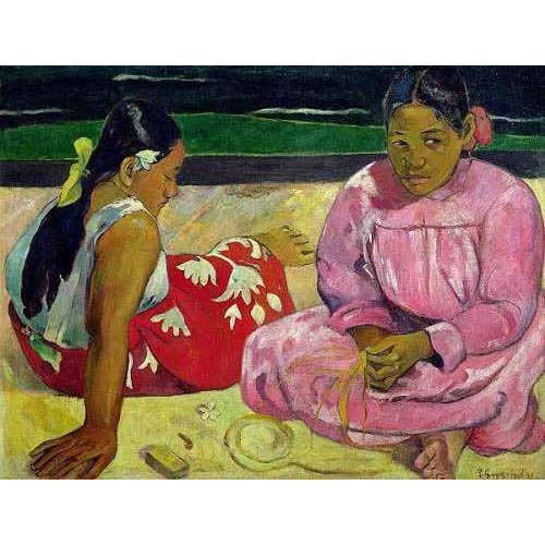 pinturas do retrato - Quadro -Mujeres de Tahití en la playa-