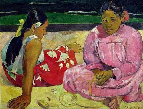 pinturas-de-retratos - Quadro -Mujeres de Tahití en la playa- - Gauguin, Paul