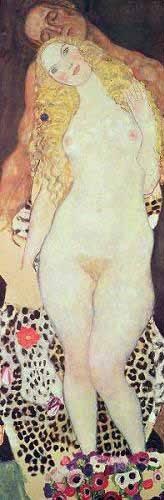 pinturas-de-retratos - Quadro -De Adão e Eva- - Klimt, Gustav