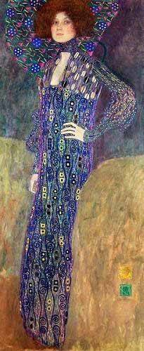 pinturas-de-retratos - Quadro -Emilie Floege- - Klimt, Gustav