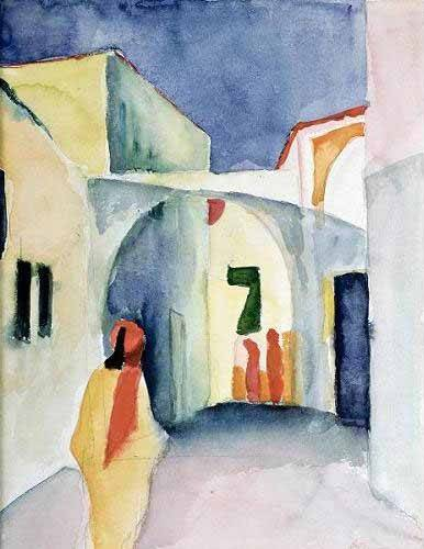 pinturas-de-retratos - Quadro -A Glance Down an Alley- - Macke, August