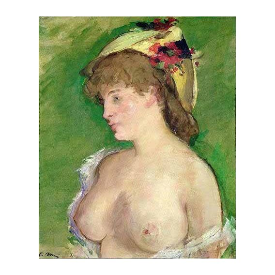 cuadros de retrato - Cuadro -The Blonde with Bare Breasts-