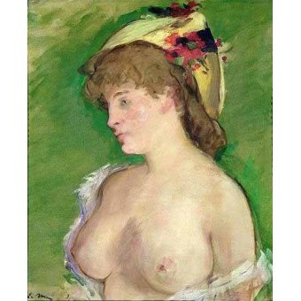 quadros nu artistico - Quadro -The Blonde with Bare Breasts- - Manet, Eduard