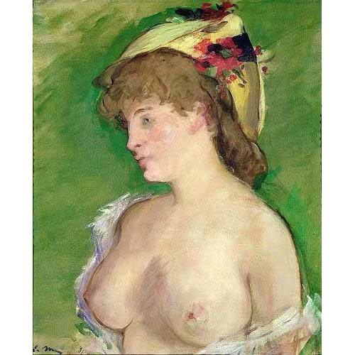 pinturas do retrato - Quadro -The Blonde with Bare Breasts-