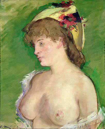 pinturas-de-retratos - Quadro -The Blonde with Bare Breasts- - Manet, Eduard