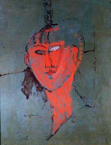 pinturas-de-retratos - Quadro -La cabeza roja- - Modigliani, Amedeo