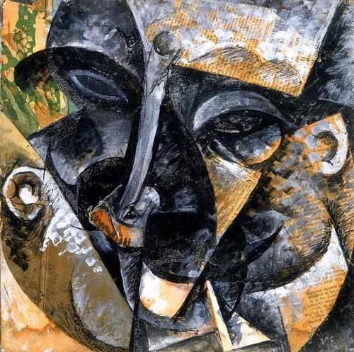 abstracts paintings - Picture -Composicion con cabeza de hombre- - Boccioni, Umberto