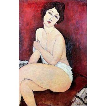 quadros nu artistico - Quadro -Large Seated Nude- - Modigliani, Amedeo