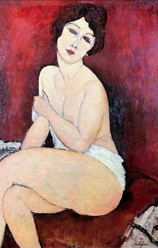 pinturas-de-retratos - Quadro -Large Seated Nude- - Modigliani, Amedeo