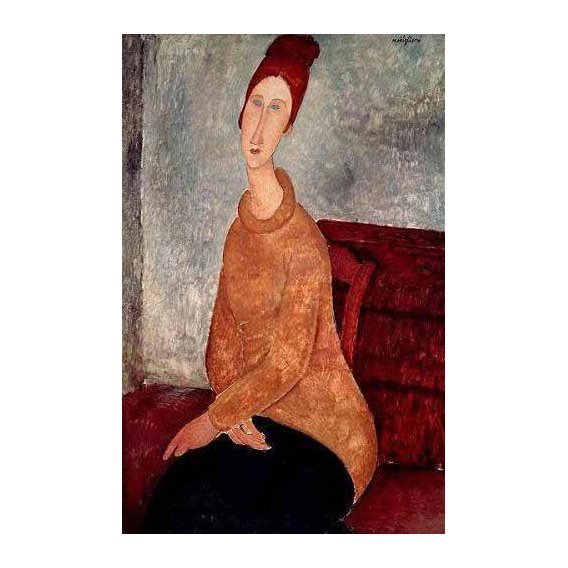 pinturas do retrato - Quadro -Jeanne Hebuterne in a Yellow Jumper-