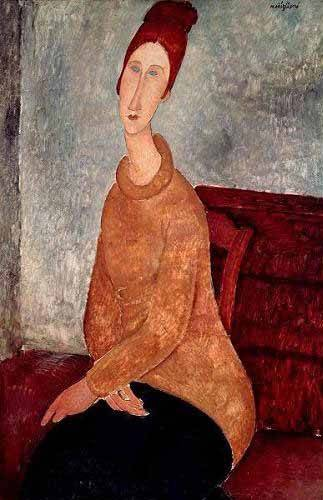 pinturas-de-retratos - Quadro -Jeanne Hebuterne in a Yellow Jumper- - Modigliani, Amedeo