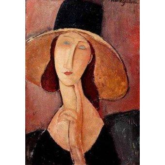 - Quadro -Retrato de Jeanne Hebuterne con pamela- - Modigliani, Amedeo