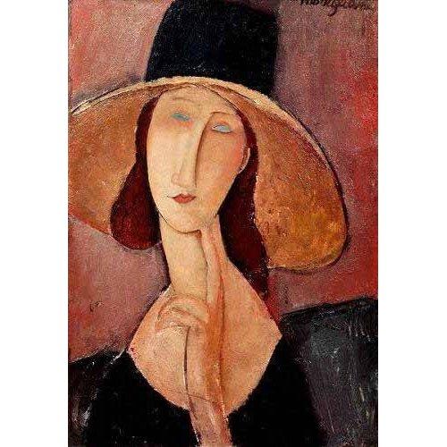Quadro -Retrato de Jeanne Hebuterne con pamela-